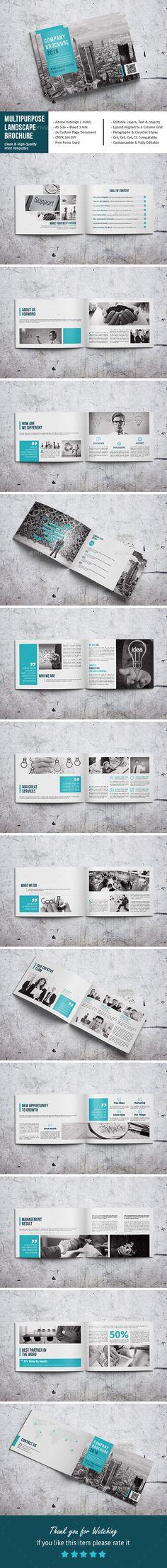 Multipurpose Landscape Brochure — InDesign INDD #brochure #magazine • Available here → https://graphicriver.net/item/multipurpose-landscape-brochure/19501107?ref=pxcr