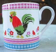 Cath kidston rooster hen coffee tea mug cup baby #chicks gingham #check #churchil,  View more on the LINK: http://www.zeppy.io/product/gb/2/191390872636/