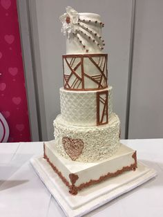 The Wedding Expo Cake Challenge with Huletts SA in Durban 2017 by Totally Caked. Cake Competition, Wedding Cakes, Challenge, Rose Gold, Desserts, Silver, Wedding Gown Cakes, Tailgate Desserts, Deserts