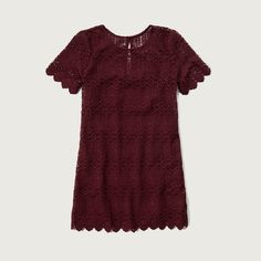 Abercrombie & Fitch 1892 Heritage Collection Lace Shift Dress ($98) ❤ liked on Polyvore featuring dresses, burgundy lace, lace keyhole back dress, slip dress, burgundy lace dress, crew neck dress and short sleeve shift dress