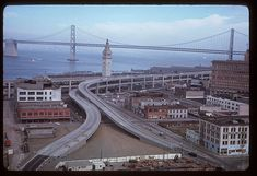 Photo of the old Embarcadero Freeway.  Ramps to Washington and Clay Streets, 1965.