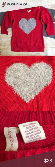 """Fuzzy Heart Sweater Red sweater with grey eyelash heart • 18"""" bust 22"""" length front/25"""" length in back • vibrant and cute! Offers are always welcome Sweaters"""