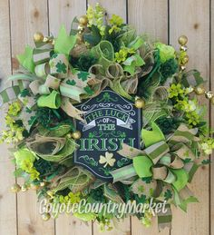 Burlap Mesh St Patrick's Day Wreath-Luck Of The Irish Wreath-St Patty's Day Door Wreath-St Patrick's Day Decor-St Patrick's Day Mesh Wreath by CoyoteCountryMarket on Etsy