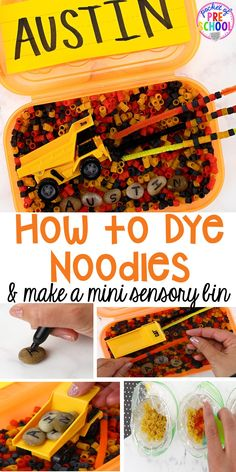 How to Dye Noodles and Make a Mini Name Sensory Bin - Pocket of Preschool Edible Sensory Play, Sensory Table, Sensory Bins, Sensory Activities Toddlers, Infant Activities, Colored Noodles, Sentence Strips, Tools And Toys, Construction Theme