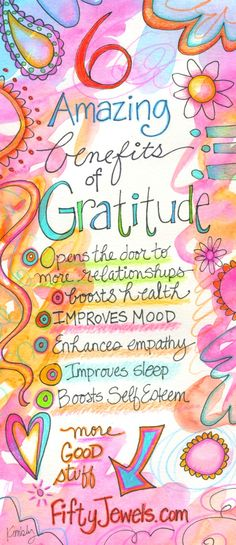 Do you keep a Gratitude Journal? It's one of the BEST things you can do for your Happiness and your Health. Pin for later and CLICK to learn more!  http://FiftyJewels.com