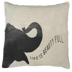 Made of soft natural linen and stuffed with a plush down insert, the Elephant Speaking Pillow boasts a whimsical elephant silhouette uttering a sentimental quote that is sure to remind you to cherish the little things in life. Perfect for a romantic bedroom or a cozy living room sofa, this lovely pillow makes the perfect addition to your home.