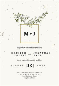 Olive leaves - Free Wedding Invitation Template | Greetings Island