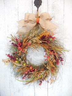 Fall door wreaths, Wispy, Fall door decor, Harvest, Floral wreaths, Autumn, Thanksgiving, Wreaths for Fall, Berry wreath, Red and orange