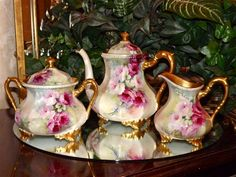 """Limoges Gorgeous 4-Piece Rose Covered Tea Set: Tea Pot, Lidded Sugar, Creamer and 18.75"""" Tray"""