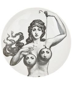 Shop Fornasetti Plate In Black from stores. On SALE now! China plate from Fornasetti featuring a black and white print of a woman holding two balloons with faces. Art And Illustration, Piero Fornasetti, Arte Obscura, Occult Art, White Wall Art, Plates On Wall, Plate Wall, Dark Art, Art Inspo