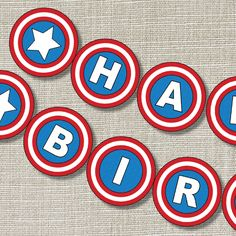 CAPTAIN SUPERHERO Happy Birthday Banner - Inspired - Captain America - Superhero - Banner- Invitation - Style B. $10.00, via Etsy.