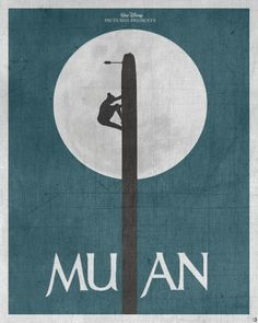 This movie poster recreates a famous scene from Mulan. The l in mulan is created with the pole mulan climbs. The moon in the background helps run out the silhouette of mulan. Disney Pixar, Walt Disney, Heros Disney, Disney Films, Disney And Dreamworks, Disney Love, Disney Magic, Disney Art, Punk Disney