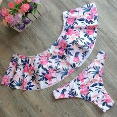 Off The Shoulder Floral Bathing Suit - Women Bandage Bikini Set Push-up Padded Bandeau Swimsuit Bathing Beach Swimwear