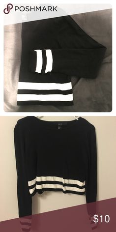 Black and white stripe long sleeve cropped sweater Never worn! Cotton lightweight sweater material Forever 21 Tops Crop Tops