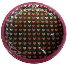 "Custom & Unique {7"" Inch} 8 Count Multi-Pack Set of Medium Size Round Circle Disposable Paper Plates w/ Cute Valentines Hearts Party Celebration Event ""Brown, Pink & Orange Colored"""