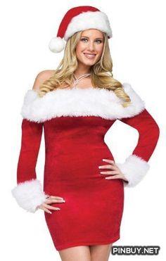 Fun World Sexy Womens Mrs Santa Claus Christmas Costume Party Dress - PinBuy