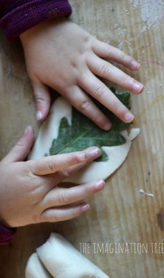 DIY Salt dough leaf printing