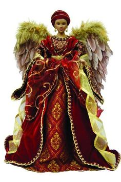 "16"" African American Diva Angel Christmas Tree Topper with Feathers - Unlit"