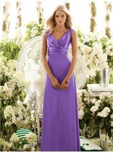 Elegant Column V-neck Purple Pleated Floor-length Bridesmaid Dress