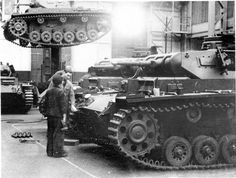 Panzer iii Ausf Es being produced in a factory