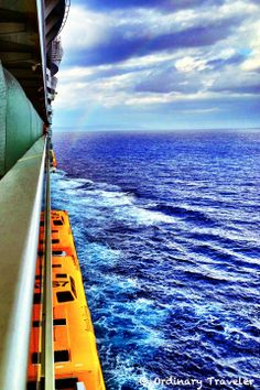 Balcony view with a rainbow during our Caribbean cruise