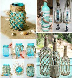 23 Clever DIY Christmas Decoration Ideas By Crafty Panda Glass Bottle Crafts, Diy Bottle, Bottle Art, Crafts With Bottles, Beach Crafts, Diy Home Crafts, Bottles And Jars, Glass Bottles, Reuse Bottles