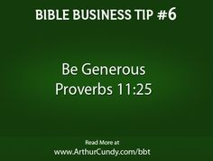 Bible Business Tip #6: Be Generous
