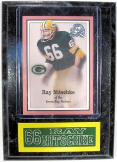 "RAY NITSCHKE NEW 4"" X 6"" SPORTS PLAQUE GREEN BAY PACKERS"