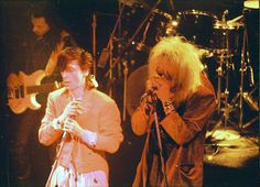 Great photo of Johnny Thundersand Michael Monroe at Irving Plaza, NYC. February 14, 1986. Stefan Sonic took the photo.
