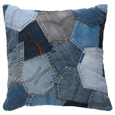 Denim Pocket Patchwork Cushion Love it
