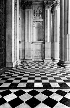 Black and white floors Reminds me of Alice in Wonderland