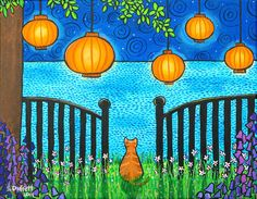 Summer Dreams Orange Tabby Chinese Lanterns Ocean por AliceinParis