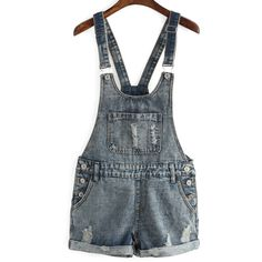 Ripped Denim Cuffed Romper (1,510 MKD) ❤ liked on Polyvore featuring jumpsuits, rompers, blue rompers, denim romper, playsuit romper, denim rompers and blue romper