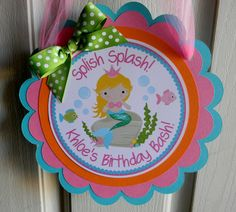 Little Princess Mermaid Birthday Party Door Sign