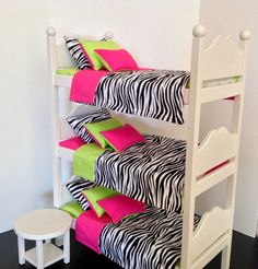 """Doll Triple bunk bed for 18"""" American Girl Dollwith pink, green and zebra bedding"""