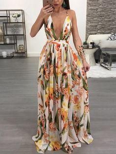 Vestido maxi sin espalda con estampado floral y plisado (S/M/L/XL/2XL) $39.99