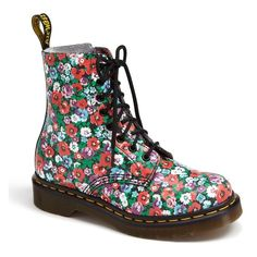 Women's Dr. Martens 'Pascal' Boot ($130) ❤ liked on Polyvore featuring shoes, boots, ankle booties, ankle boots, shiny boots, bootie boots, grunge boots, dr martens boots and short boots