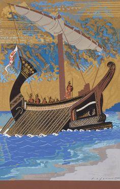 Sailboat Canvas Prints - The Ship of Odysseus Canvas Print by Francois-Louis Schmied Art Deco Wall Art, Trojan War, Boat Painting, Art Graphique, Egyptian Art, Ancient Greece, Ancient Art, Ancient History, Sailboat