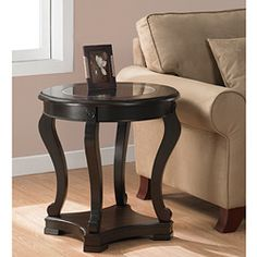 Add functional elegance to your home décor with this wood espresso end table. This cocktail table features a tempered glass top, a bottom shelf for storage, and non-mar foot glides. Fits easily in the Foyer, office Living room, or Entryway. My Living Room, Living Room Decor, Espresso End Table, Sofa End Tables, Side Tables, Coffee Tables, Console Tables, Best Espresso, Espresso Coffee