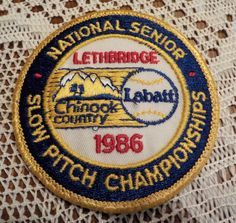 Vintage Lethbridge Labatt Beer 1986 National Slow Pitch Championship Baseball Chinook Country Patch Applique Crest Logo by LouisandRileys on Etsy