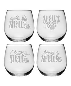 This What the Shell? Stemless Wineglass - Set of Four is perfect! #zulilyfinds