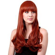 Capless Long sintético laranja peruca de cabelo encaracolado completa estrondo – BRL R$ 67,30