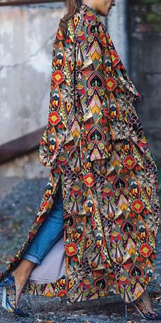 Fashion Prints, Boho Fashion, Autumn Fashion, Fashion Outfits, Womens Fashion, Coats For Women, Jackets For Women, Mode Mantel, Long Sweater Coat
