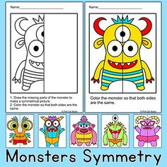 Week symmetry by drawing and coloring these silly monsters! Perfect for math centers, early finishers and homework. This fun activity includes 6 monsters, each with three levels of difficulty. Great for grades K to Monster Classroom, Math Classroom, Classroom Themes, Maths, Symmetry Activities, Math Activities, Symmetry Art, Art Worksheets, Symmetry Worksheets