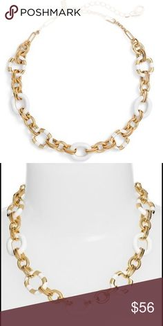 "kate spade Mod Moment Link Necklace Enamel-filled rings and glossy stripes put a contemporary twist on a glistening collar necklace designed with gold-plated links. 17 1/4"" length; 3 1/2"" extender; 3/4"" link diameter. Lobster clasp closure. 12k-gold plate/enamel. By kate spade New York.  100% authentic and can provide receipt.  🚭 home, pet free zone.  Ships in ksny pouch and robin egg blue box w ivory ribbon.  Beautiful collar necklace, classy and timeless.  This is a gift I would love to…"