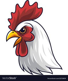 Chicken rooster head mascot vector image on VectorStock Chicken Vector, Chicken Logo, Chicken Art, Easy Animal Drawings, Bird Drawings, Easy Drawings, Cartoon Rooster, Rooster Art, Weird Pictures