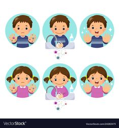 Kids washing and cleaning hands with bubbles soap Vector Image party
