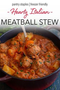 It's stew time and what better way to start off the cooler weather than with this Delicious Hearty Meatball Stew. The perfect meatballs in a rich tomato sauce filled with potatoes and carrots. So good it will become a new dinner favourite! This healthy family dinner uses pantry staples, is freezer friendly, and comes together in under and hour! Such a quick and easy dinner recipe! #meatballs #stew #italian #healthydinner