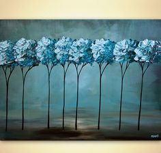 Landscape Abstract Painting Blooming Teal Tree Art by OsnatFineArt