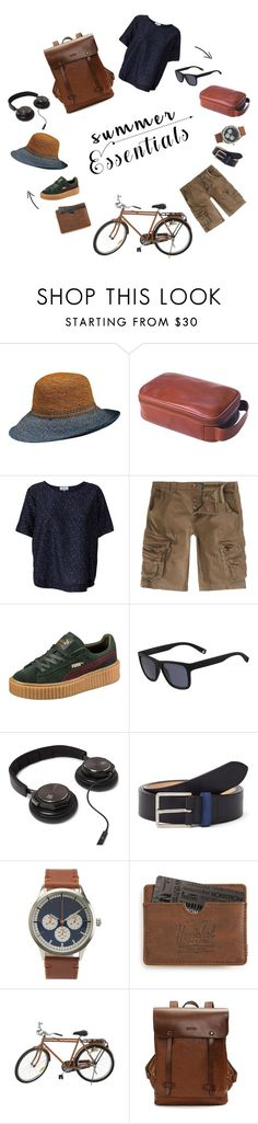 """""""summer walks"""" by littlenomaden on Polyvore featuring Callanan Millinery, Clava, Kokoon, Puma, Lacoste, Paul Smith, Aéropostale, Herschel Supply Co., Jayson Home and men's fashion"""